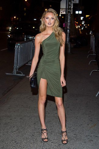 Olive green wrap dress with one shoulder