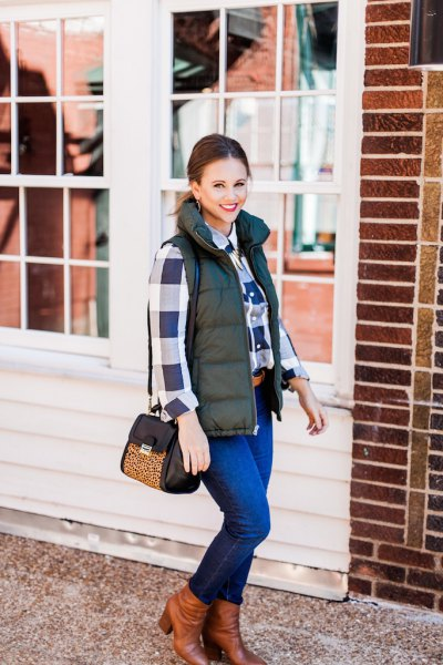 Olive green quilted vest and white plaid boyfriend shirt