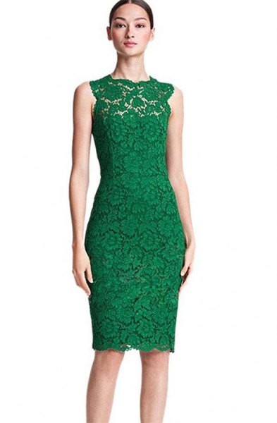 Olive-green sleeveless, figure-hugging midi dress made of lace