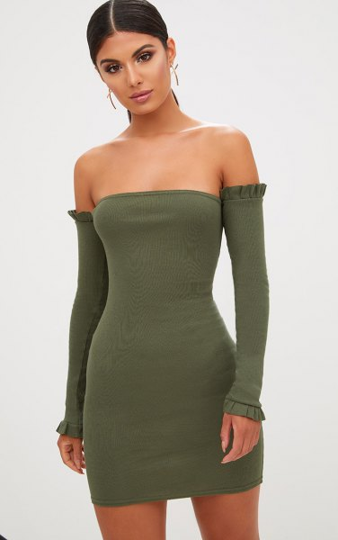 Olive green tube dress with long sleeves