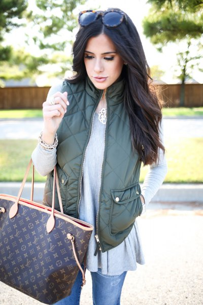 olive green vest, gray tunic top