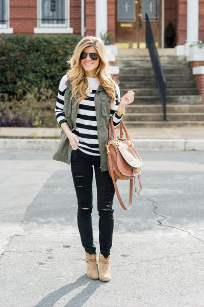 olive green vest white and black striped knitted sweater