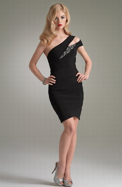 a strapless black cocktail dress