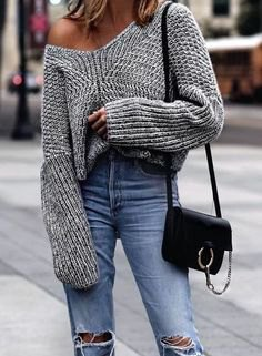 a shoulder-gray, chunky sweater with boyfriend jeans