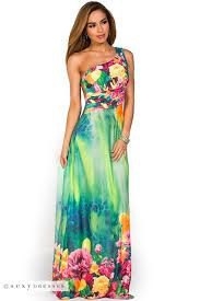 a shoulder sky blue and white floral maxi luau dress