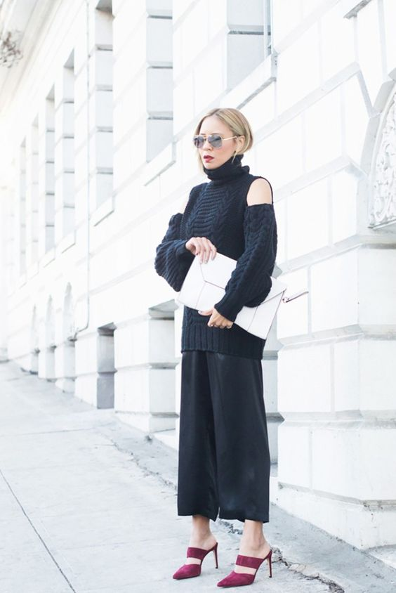 open shoulder sweater all black everything