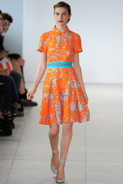 orange and light blue knee-length dress with a flared collar
