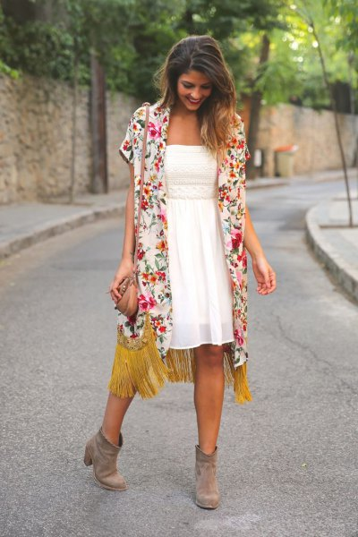 orange-white long-sleeved short-sleeved cardigan with midi dress with fit and flare
