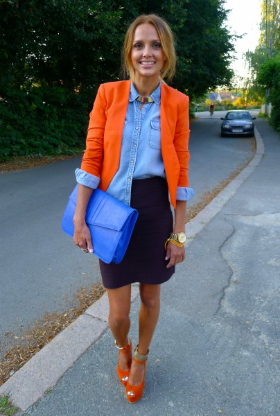 orange blazer with blue chambray shirt and black mini skirt