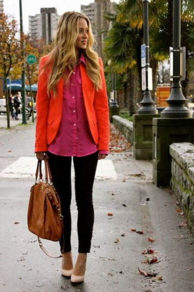 Orange blazer with a red, oversized shirt with buttons
