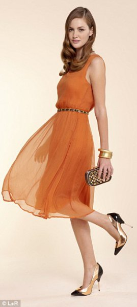 Orange tank dress with a chiffon belt and pointed toe heels