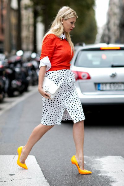 orange waisted knitted sweater dotted skirt yellow heels