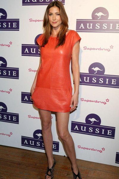 Orange mini dress made of leather with cap sleeves