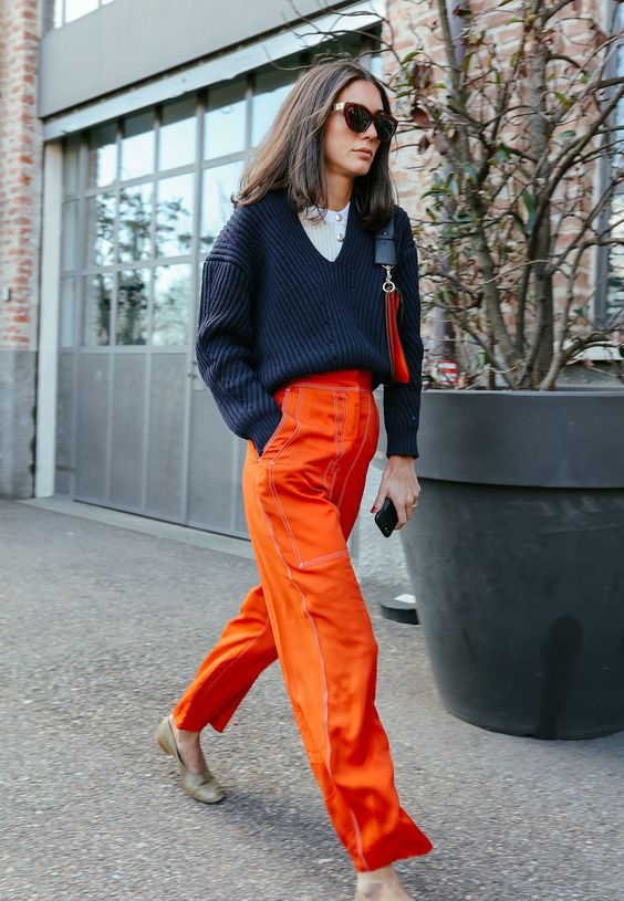 Orange Pants: How to Style The Color Of Winter - FMag.c