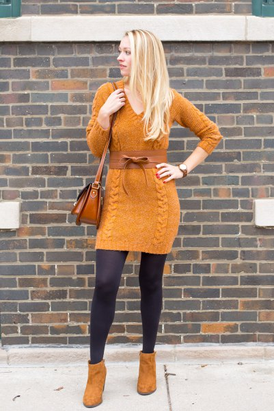 orange suede ankle boots with matching knitted sweater dress