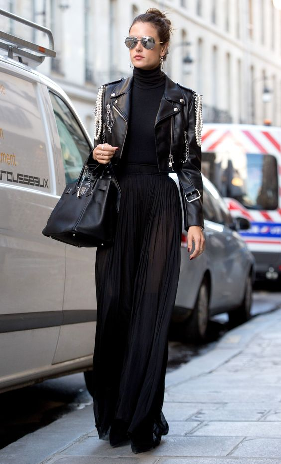Maxi skirt made from a shortened leather jacket
