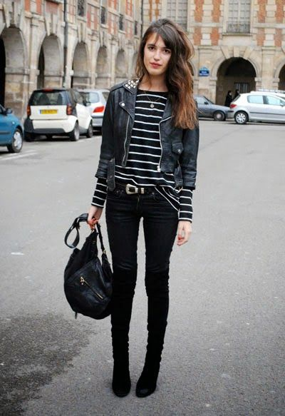 short-cut shirt with leather jacket