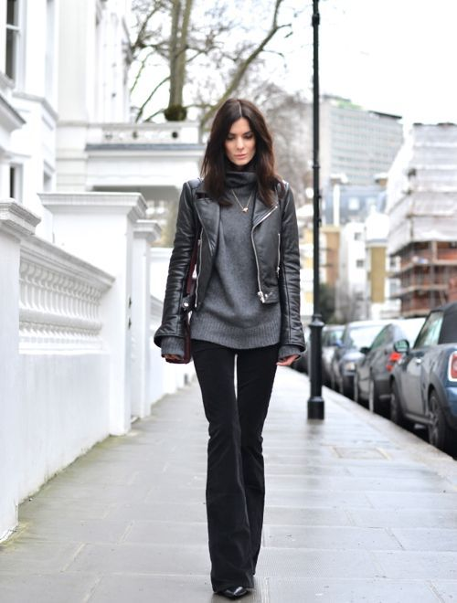 Turtleneck sweater made from a shortened leather jacket
