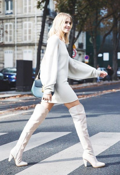above knee white leather boots sweater dress