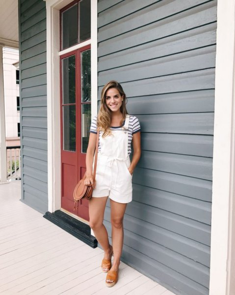 Overall shorts navy and white striped t-shirt