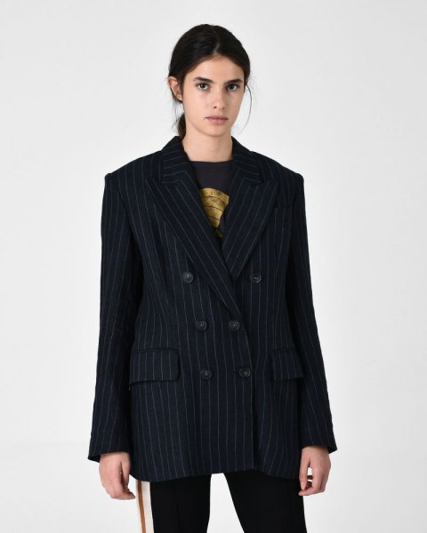 Oversized black and gray striped suit with a printed t-shirt