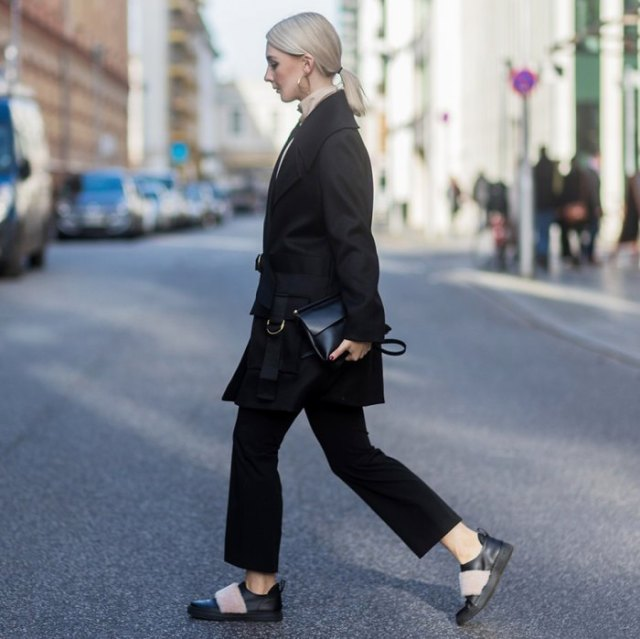 oversized leather shoes made from a black wool coat