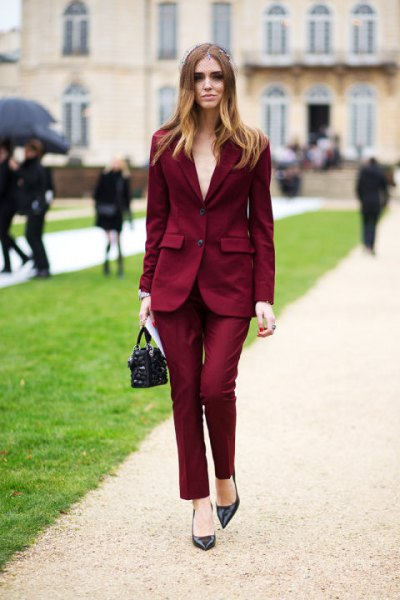 Oversized blazer with matching chinos and a blushing pink blouse