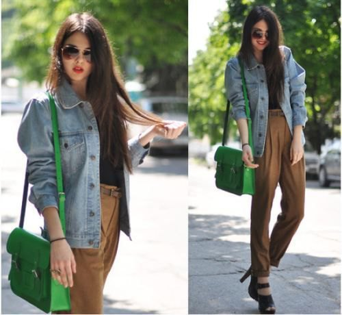 oversized blue denim jacket with green high-waisted chinos