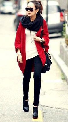 oversized cardigan with black infinity scarf and cream-colored top