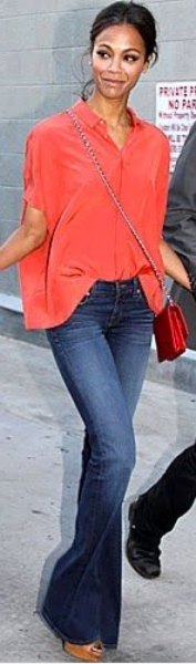 oversized shirt with button placket and flared jeans