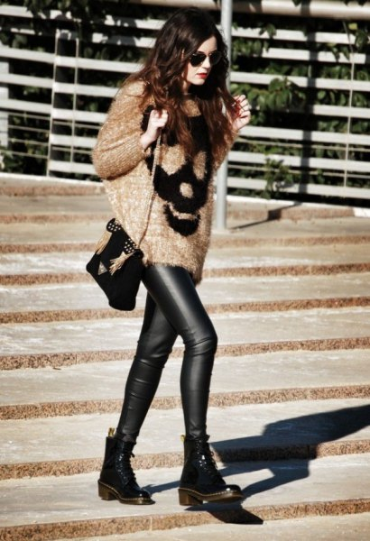 oversized fluffy knitted sweater leather gaiters