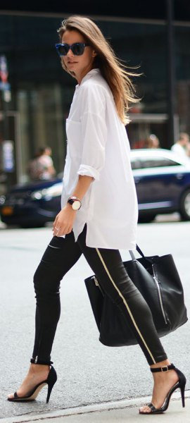 oversized white shirt with black leather leggings with zipper