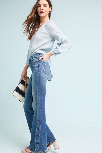 Light blue chiffon long-sleeved blouse with blue, high-waisted boot-cut jeans
