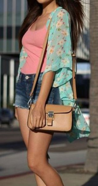light blue floral chiffon cardigan with pink scoop neck