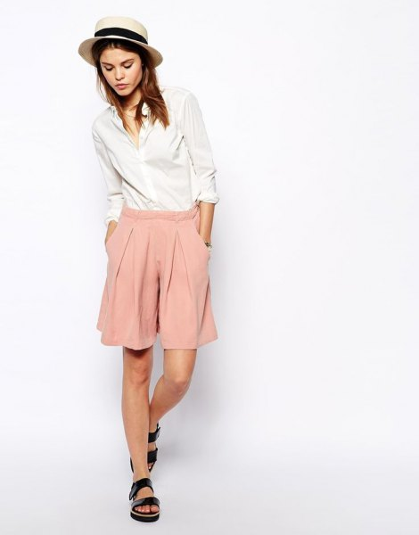pale orange shorts white shirt with buttons