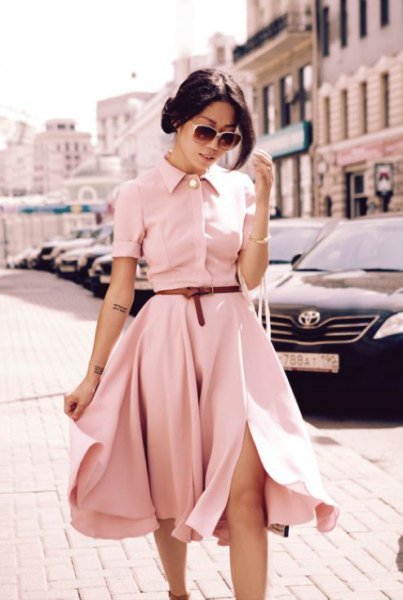 Light pink belt fit and flared midi shirt dress