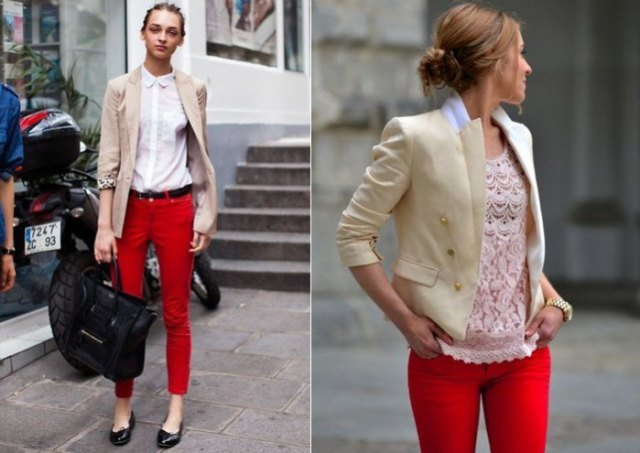 Light pink blazer with a white shirt and red skinny pants