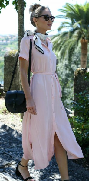 Light pink maxi dress with button closure, white satin scarf