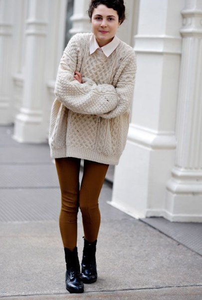 Light pink cable knit oversize sweater with white collar shirt