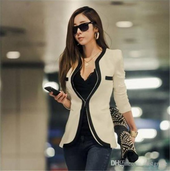 Light pink coat suit with black camisole and jeans