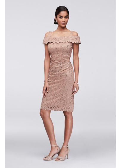 pale pink knee-length cocktail dress made from cold shoulder lace