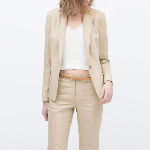 Light pink cotton jacket with matching trousers and shortened sweater