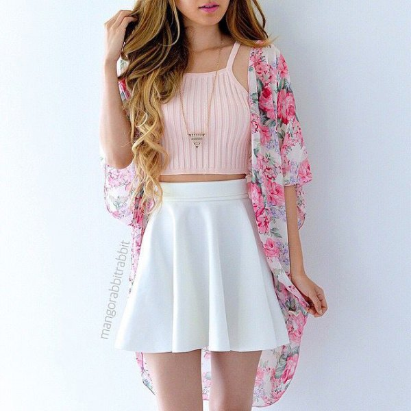 Light pink, cropped, sleeveless sweater with a floral kimono