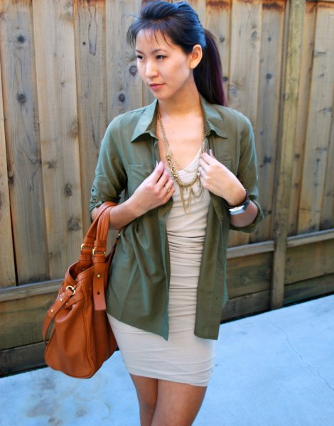 pale pink dress green shirt with buttons