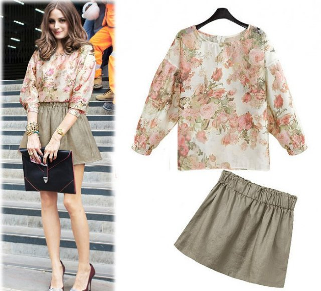 pale pink floral blouse with green skater skirt