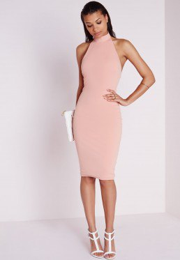 Light pink halter bodycon dress with white heels