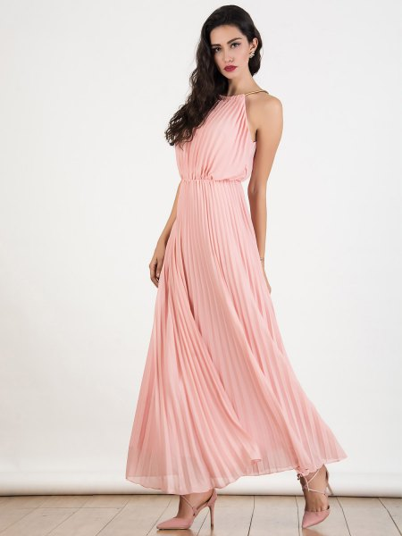 Light pink halterneck fit and flared, pleated chiffon maxi dress