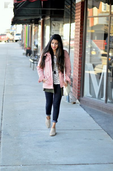 Light pink jacket with gray unbuttoned boyfriend shirt and white printed t-shirt