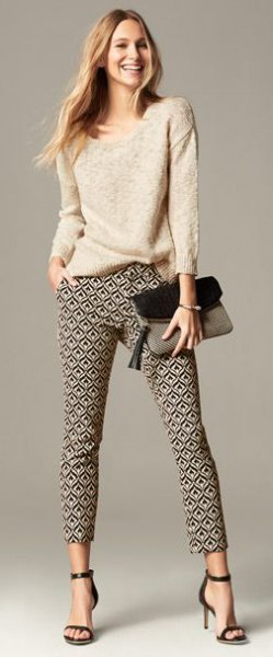 light pink knitted sweater pants with floral print