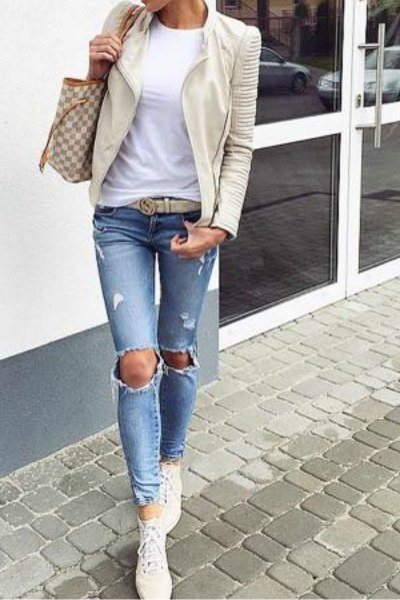 Light pink leather jacket and ripped skinny jeans